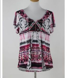 ONE WORLD patterned Top blouse Size XL